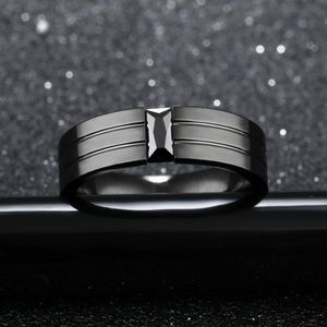 Jewelry - 3 Stripes Deepest Black Stainless Steel Ring